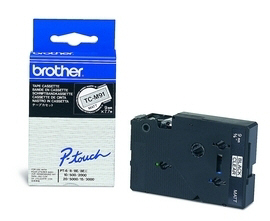 Brother TCM91 9 mm. Sort tekst / klar/mat tape 7,7 m. pr. rl.