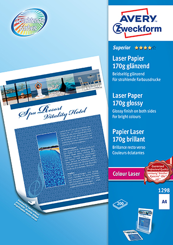 Avery 1298 Glossy laser foto papir, 170 gsm A4 200ark