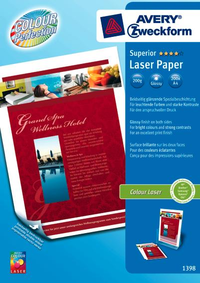 Avery 1398-200 Glossy laser foto papir, 200 gsm A4 200ark