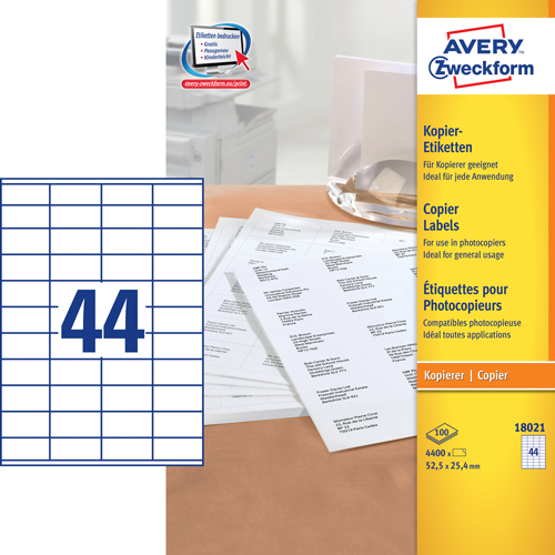Avery 18021 kopimaskine labels 44 pr. ark 25,4X52,5 100ark