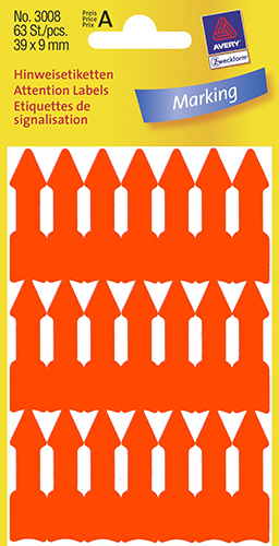 Avery 3008 Attention etiketter, selvklæbende pile, orange, 39x9mm, 63stk, 39 x 9 mm, 63stk