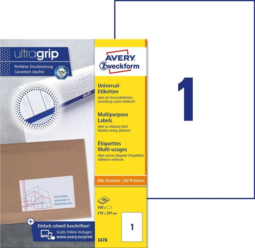 Avery 3478 hvide labels 1 pr. ark, blaek og Laserprinter 210x297 100ark