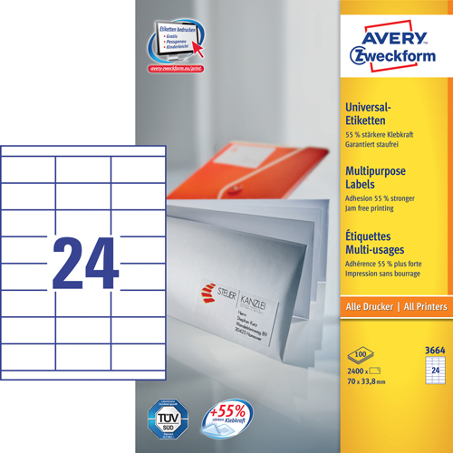 Avery 3664 hvide labels 24 pr. ark, blaek og Laserprinter 70x33,8 100ark