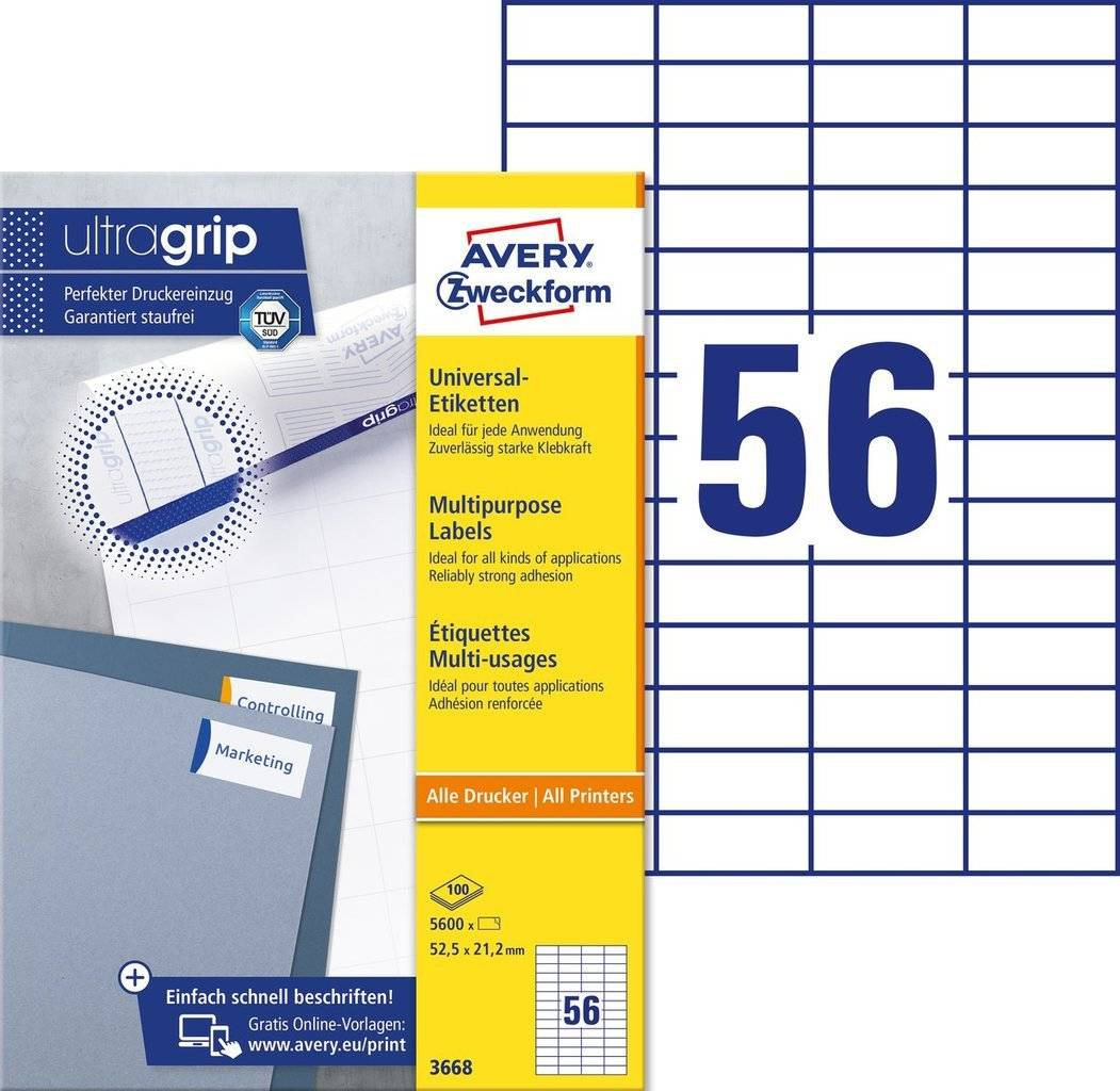 Avery 3668 hvide labels 56 pr. ark, blaek og Laserprinter 52,5x21,2 100ark