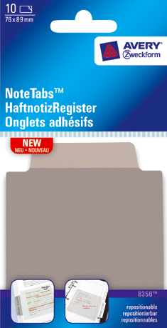 Avery 8356 3x3.5 NoteTab Taupe 76,2x88,9 10stk.