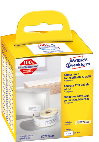 Avery Labelrulle, Addresse, 89x36mm, AS0722400, 2x260stk