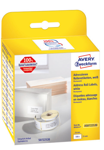 Avery Labelrulle, Addresse, 54x25mm, AS0722520, 500stk