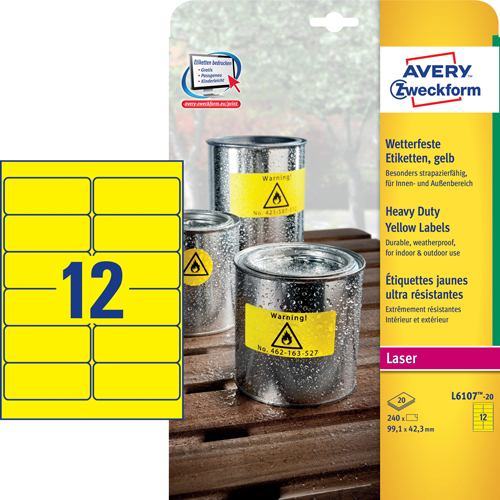 Avery L6107-20 Heavy duty labels, gule 12 pr. ark 99,1 x 42,3 20 ark
