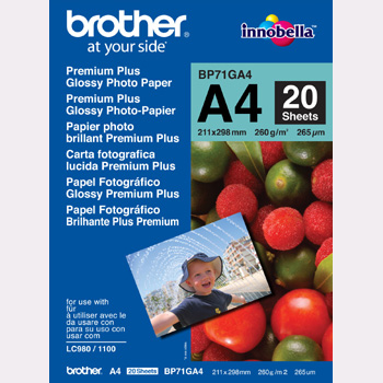 A4 Brother BP71GA4 Glossy Inkjet papir 260g (20ark)