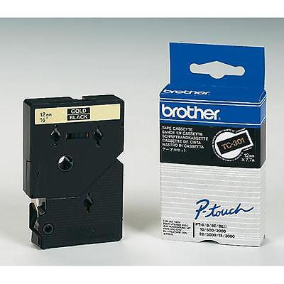 TC301/TC-301 Brother guld tekst på sort tape 12mm