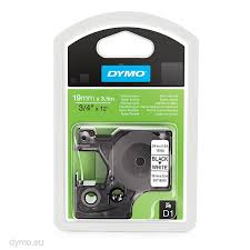DYMO 16958 D1 Tape Fleksibel 19mm x 3,5m sort på hvid, S0718050