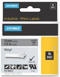 DYMO Rhino 1805413 Vinyl tape 12mm x 5,5m sort på grå
