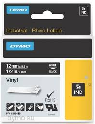DYMO Rhino 1805435 Vinyl tape 12mm x 5,5m hvid på sort