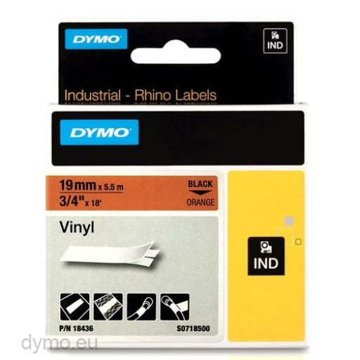DYMO Rhino 18436 Vinyl tape 19mm x 5,5m sort på orange