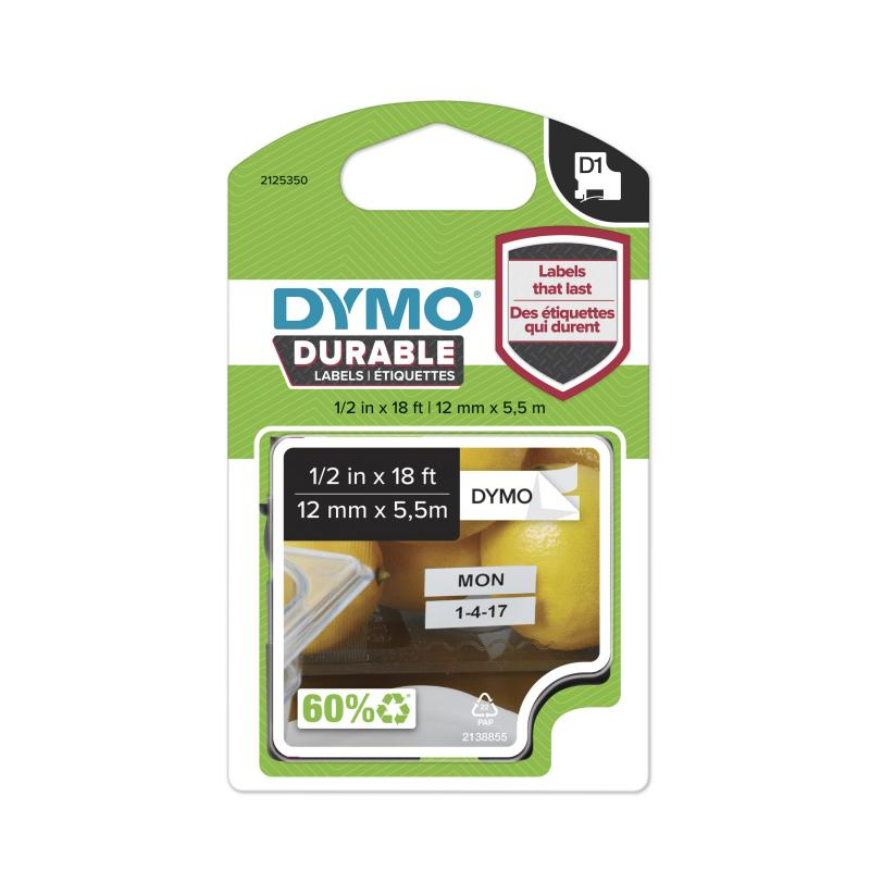 DYMO D1 Durable 12mm x 5,5M, Sort tekst på Hvid tape, varenr. 1978364