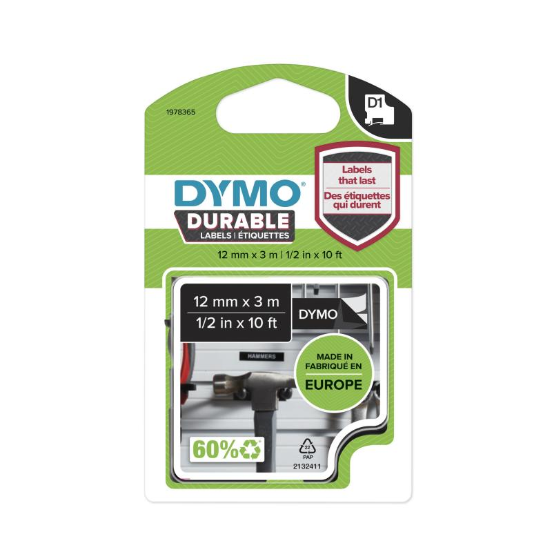 DYMO D1 Durable 12mm x 3M, Hvid tekst på Sort tape, varenr. 1978365