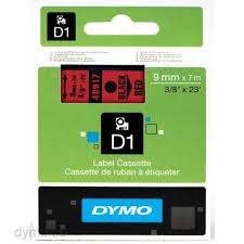 DYMO 40917 D1 Tape 9mm x 7m sort på rød, S0720720