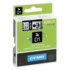 DYMO 43610 D1 Tape 6mm x 7m sort på klar/transparent, S0720770