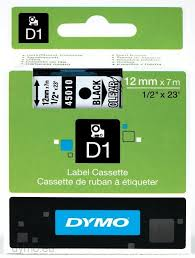 DYMO 45010 D1 Tape 12mm x 7m sort på klar/transparent, S0720500