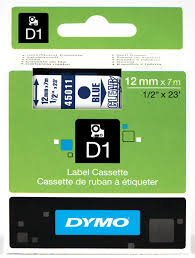 DYMO 45011 D1 Tape 12mm x 7m blå på klar/transparent, S0720510