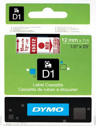 DYMO 45012 D1 Tape 12mm x 7m rød på klar/transparent, S0720520