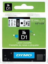 DYMO 45013 D1 Tape 12mm x 7m sort på hvid, S0720530