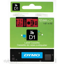 DYMO 45017 D1 Tape 12mm x 7m sort på rød, S0720570