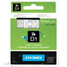 DYMO 45020 D1 Tape 12mm x 7m hvid på klar/transparent, S0720600