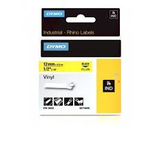 DYMO Rhino 18432 Vinyl tape 12mm x 5,5m sort på gul, S0718450
