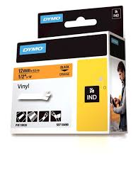 DYMO Rhino 18435 Vinyl tape 12mm x 5,5m sort på orange, S0718490
