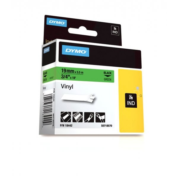 DYMO Rhino 18442 Vinyl tape 19mm x 5,5m sort på grøn, S0718570