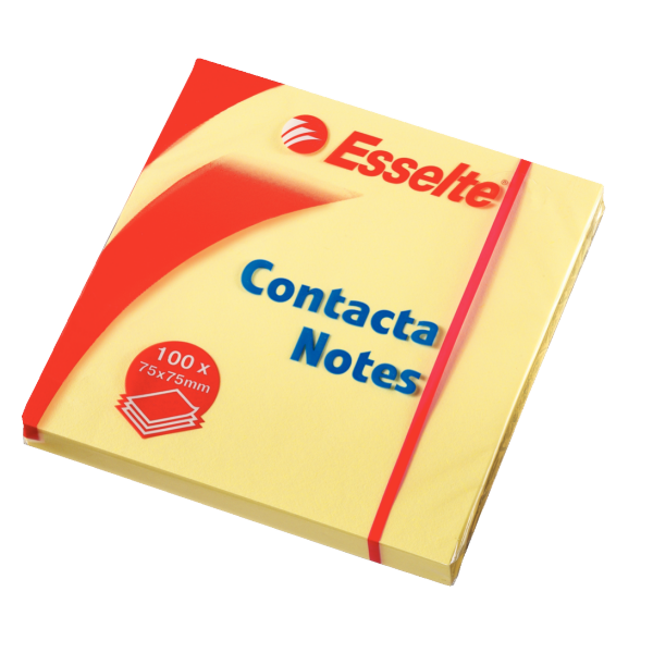 Contacta Notes 75x75mm gul, 12 stk., varenr. 83003