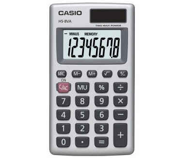 Casio HS-8VA lille lommeregner med etui 8 ciffers display
