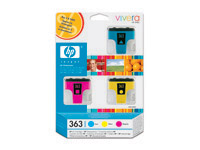 CB333EE Value pack, 3x blæk nr. 363 Cyan, Magenta, Gul, original