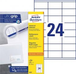 Avery 3422 hvide labels 24 pr.ark, blaek og laserprinter 70x35 100ark