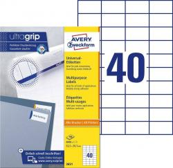 Avery 3651 hvide labels 40 pr. ark, blaek og Laserprinter 52,5x29,7 100ark