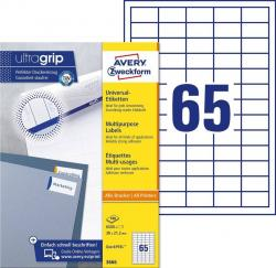 Avery 3666 hvide labels 65 pr. ark, blaek og Laserprinter 38x21,2 100ark