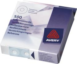 Avery 43-409 Hulforstaerkere. Klare, diameter 13mm Dispenser med 500 stk.