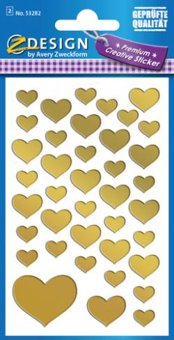 Avery 53282 Heart gold 2ark of 39 labels assorterede sizes