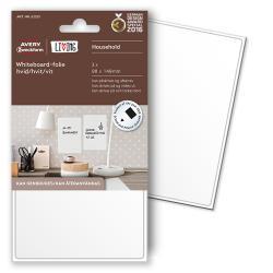 Avery 62013 Whiteboard-folie, 101 x 152 mm, hvid, statisk klæbende  3 Ark m. 1 Labels