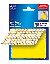Avery 8322 Label Book, gule firkanter, 2 sizes gule = 89x25mm, gule = 89x51mm 40ark