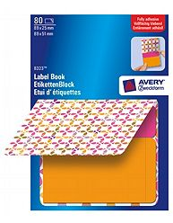 Avery 8323 Label Book, Orange firkanter, 2 str. pink = 89x25mm, orange = 89x51mm 40ark