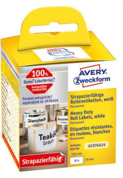 Avery A1976414 Heavy Duty etiketter 59x102mm, rulle med 50stk
