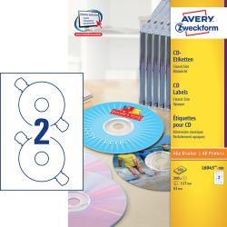Avery L6043-100 Classic CD etiketter matt 2 pr. ark diameter 117mm 100ark