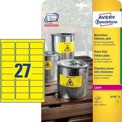 Avery L6105-20 Heavy duty labels, gule 27 pr. ark 63,5 x 29,6 20 ark