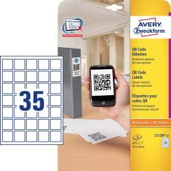 Avery L7120-25 QR Code Product labels blockout, 35x35mm, 25ark, 35 labels pr. ark