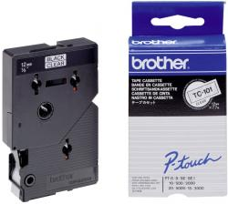 TC101/TC-101 Brother sort tekst på klar tape 12mm