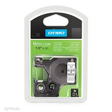 DYMO 16957 D1 Tape Fleksibel 12mm x 3,5m sort på hvid, S0718040
