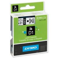 DYMO 43613 D1 Tape 6mm x 7m sort på hvid, S0720780