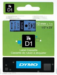 DYMO 45016 D1 Tape 12mm x 7m sort på blå, S0720560
